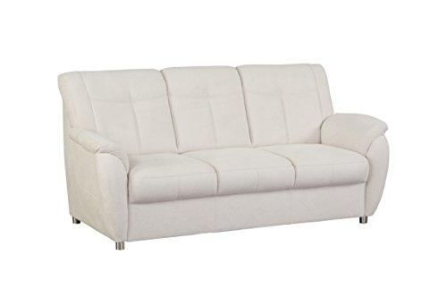 CAVADORE 3- Sitzer Sunuma mit Federkern/Moderne 3 sitzige Sofagarnitur/Größe: 189 x 91 x 90 cm (BxHxT)/Farbe: Creme (beige)
