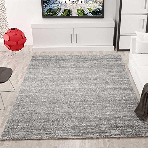Moderner Wohnzimmer Teppich Meliert Kurzflor, OEKO TEX Zertifiziert, Farbechtheit, Pflegeleicht in GRAU, VIMODA; Maße: 160x230 cm