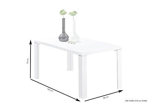 CAVADORE Esszimmertisch FERNNADO/Küchentisch 120 cm breit in Hochglanz Weiß lackiertem Holz/Winkelfuß mit Applikation in silber/120 x 80 x 75 cm (L x B x H)