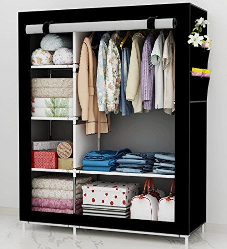 UDEAR Kleiderschrank Stoff Storage Wardrobe Bedroom Furniture Kleiderschränke mit a Kleiderstange Schwarz