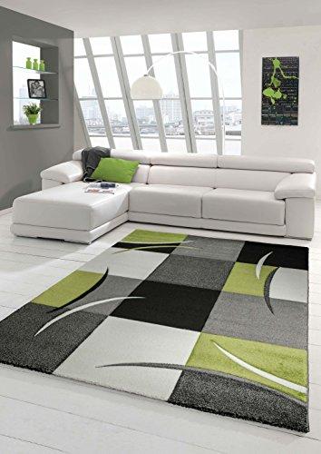 Designer Teppich Moderner Teppich Wohnzimmer Teppich Kurzflor Teppich mit Konturenschnitt Karo Muster Grün Grau Creme Schwarz Größe 120x170 cm