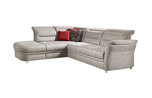 Cavadore Eck-Sofa Bontlei / Federkern-Couch mit Schlaffunktion und Ottomane / 261 x 88 x 237 cm (BxHxT) / Mikrofaser hellgrau