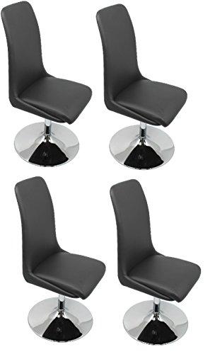 CAVADORE Esszimmerstuhl im 4er Set PALINA/4x Drehstühle mit Standfuß/360 Grad drehbarer Sitzschale/Bezug Kunstleder Schwarz/Fußteller Metall verchromt/45x98x56cm (BxHxT)