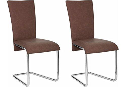 Cavadore Schwingstuhl 2-er Set Mulan / Freischwinger ohne Armlehne in modernem Design / Lederimitat / Stühle Dunkelbraun / 43 x 94 x 54cm (B x H x T)