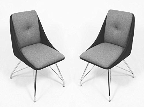 CAVADORE Esszimmerstuhl 2er Set ELEA/2x moderne Stühle mit stilischer Sitzschale/Bezug Kunstleder Schwarz/Sitz und Rücken in Stoff Grau/Gestell Metall verchromt/66x86x60,5cm (BxHxT)