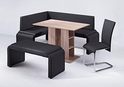 CAVADORE Vorbank FONTAINE/moderne, gepolsterte Sitzbank/Küchenbank Kunstleder schwarz/Bank ohne Lehne/140 x 48,5 x 45 cm (B x T x H)