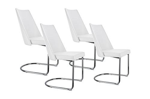 CAVADORE Esszimmerstuhl 4er Set MERLIN / 4x Freischwinger in modernem Design / Bezug Lederimitat Weiß / Gestell Metall verchromt /  4 Stühle Weiß mit Kunstleder / 48 x 96,5 x 58 cm (BxHxT) / 4er Set