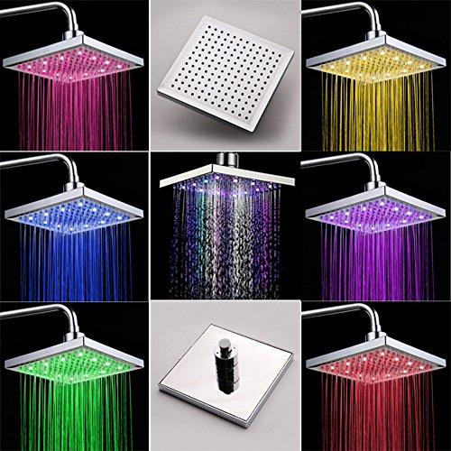 """8"""" Duschpaneel Regendusche Badamatur Duschset mit LED Lampe RGB Farbig OHNE Akku, automatischer Farbwechsel, Antikalk"""
