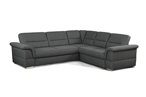 Cavadore Eck-Sofa Tuluza / Moderne Eck-Couch grau mit Spitzecke / Größe: 262 x 87 x 233 cm (BxHxT) / Strukturstoff in grau