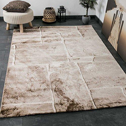 Wohnzimmer Teppich in Beige Braun Stein Mauer Optik Klassisch Sehr Dicht Gewebt Top Qualität – VIMODA; Maße: 160x230 cm
