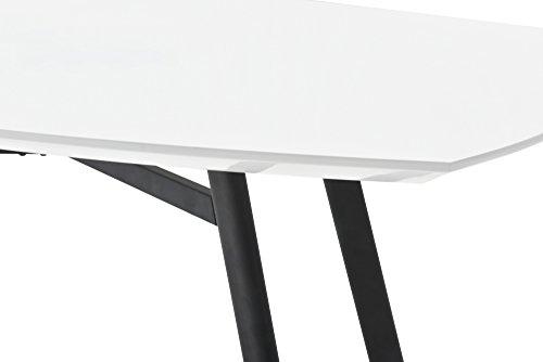 CAVADORE Esstisch PIERRE / 160 cm breiter Esszimmertisch mit abgerundeter Kante in hochglanz weiß lackiert / Gestell Metall schwarz pulverbeschichtet / 160 x 90 x 76 cm (B x T x H)