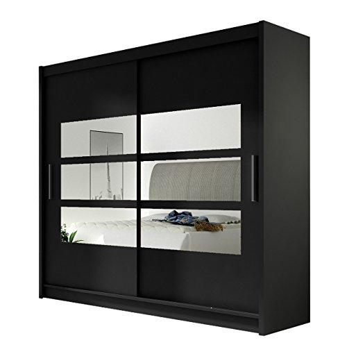 Kleiderschrank mit Spiegel London III, Schwebetürenschrank, Schiebetürenschrank, Modernes Schlafzimmerschrank 180x215x57cm, Garderobe, Schlafzimmer (Schwarz)