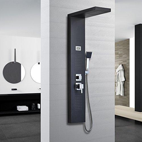 Auralum® 304 Edelstahl Duschpaneel-Set mit drei Funktion:Handbrause&Top Spray&Rückseitedusche Duschsystem mit LED Display Wassertemperatur Anzeigen 125*20cm schwar