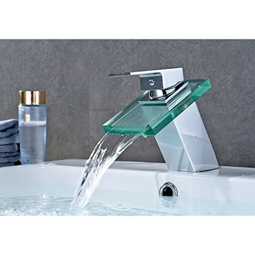 Auralum Wasserhahn Waschtischarmatur Wasserfall Einhandmischer für Bad Badezimmer Waschbecken Armatur mit Glas&Chrom