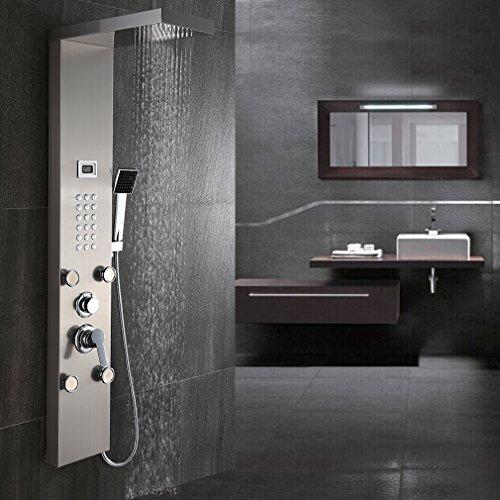 BONADE Edelstahl Duschpaneel Regendusche inkl. Handbrause Duschsystem Wasserfall Massagedüsen Digitalanzeige Duschset mit Aufputz