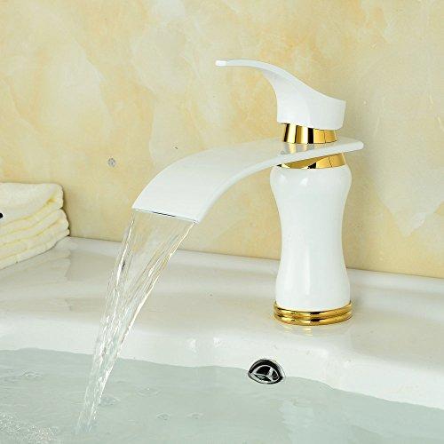 Beelee Elegant weiß Wasserhahn bad Waschtisch Waschbecken Armatur Einhebelmischer Mischbatterie Waschtischarmatur Wasserfall Waschbeckenarmatur Badarmatur für Badezimmer