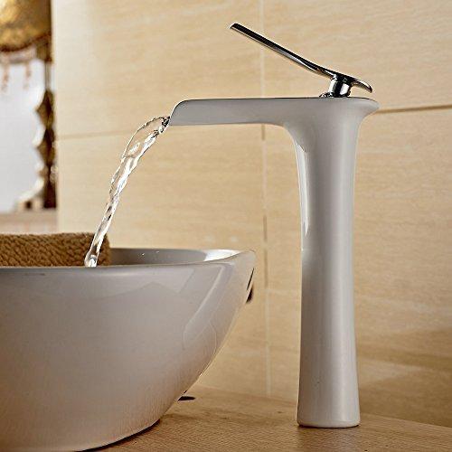 Beelee Wasserhahn Armatur Einhebel- Mischbatterie Waschtischarmatur Wasserfall Einhandmischer Gegrillte weiße Farbe für Bad Badenzimmer Waschbecken
