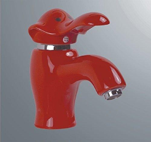 Bijjaladeva Wasserhahn Bad Wasserfall Mischbatterie Waschbecken Waschtisch Armatur Waschbeckenarmatur für BadezimmerKeramik Hahn cartoon Farbe Elefant Wasserhahn warmes und kaltes Becken aus Kupfer Rot