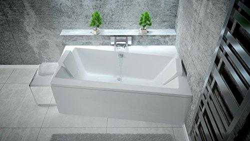 EXCLUSIVE LINE® Rechteck/Eck Badewanne INFINITY 160 x 100 cm Rechts, mit Schürze + Füßen, Ablaufgarnitur, Silikon GRATIS