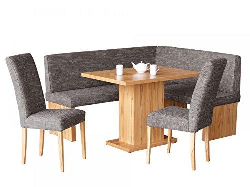 Eckbankgruppe mit Tisch und 2 Stühlen Kernbuche Dekor