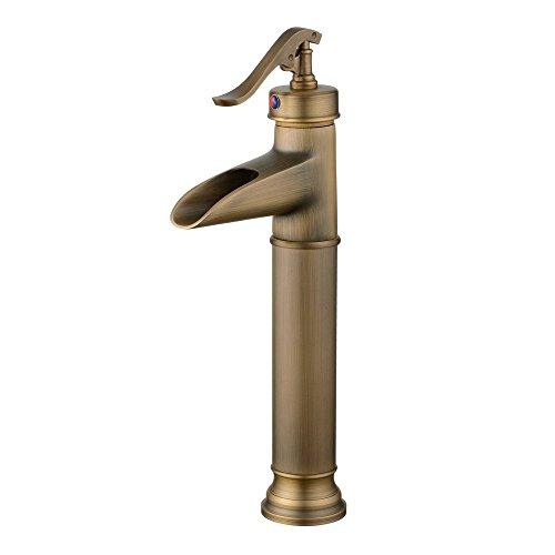 Hiendure® Waschtischarmaturen Messing Einhand Bad Waschtisch -Armatur Waschtischarmatur hoch Wasserfall, antike Bronze