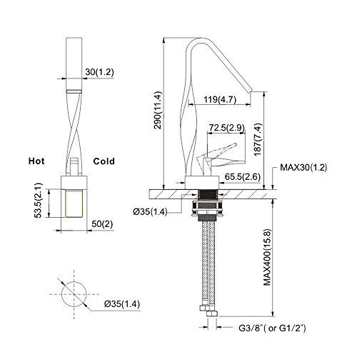 Homelody Design Waschtischarmatur Wasserfall Mischbatterie Bad Wasserhahn Badarmatur Waschbeckenarmatur Chrom Einhebelmischer Waschbecken Badezimmer