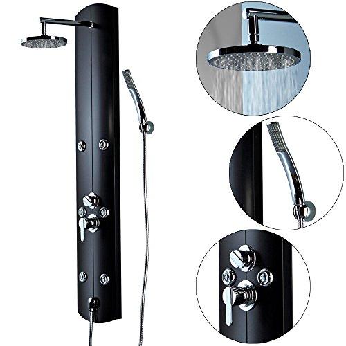 LED Aluminium Duschpaneel 3 Farben Regendusche Massage Handbrause 2 Ausführungen Sanlingo, Ausführung:Schwarz - Wandanschluss