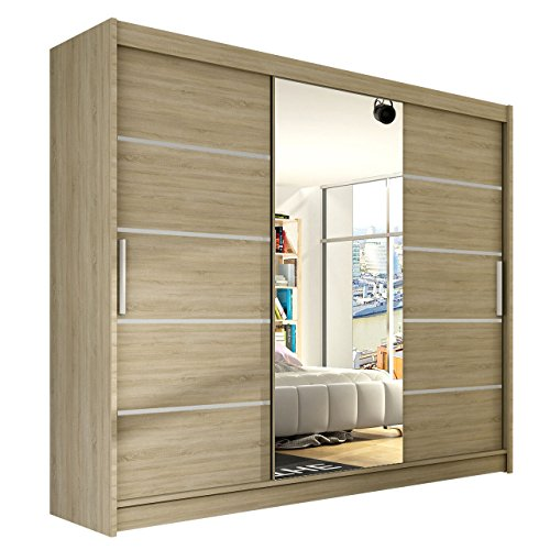 modernes schwebet renschrank aston vi mit spiegel 250 x 215 x 58 cm kleiderschrank garderobe. Black Bedroom Furniture Sets. Home Design Ideas