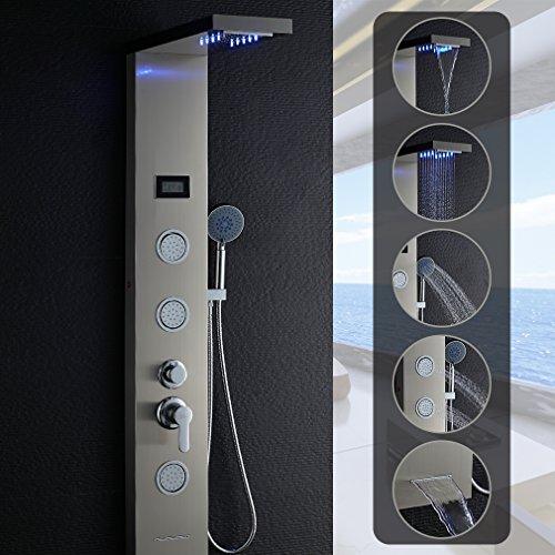 OBEEONRLED Duschset5 in 1 Multifunktion Duschsystemmit Thermostat LED Anzeige EdelstahlDuschpaneel, 2 Jahre Garantie