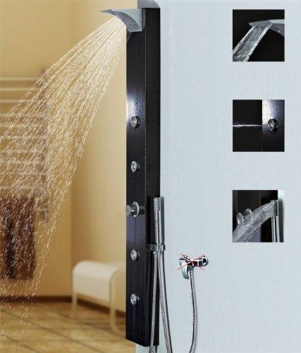 Schwarzes Alu Duschpaneel Duschsäule mit Wasserfall und Massagedüsen schwarz Sanlingo Brauseanschluss