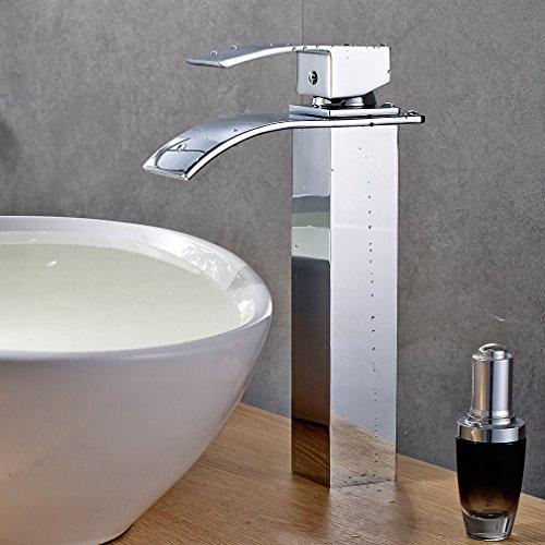 Waschtischarmatur Hoch Einhebel Wasserhahn Armatur Wasserfall Einhandmischer für Badezimmer Waschbecken NVT601H