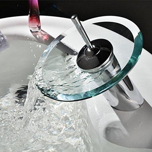 inchant Wasserfall Badezimmer Waschbecken Einhebelmischer Wasserhahn rund offen Glas Auslauf WC Wasserhahn Messing Körper Chrome Finish Spüle Wasserhahn Washroom