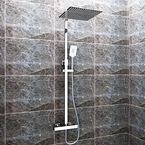 sunnyshowers duschset chrom quadratisch duschsystem. Black Bedroom Furniture Sets. Home Design Ideas