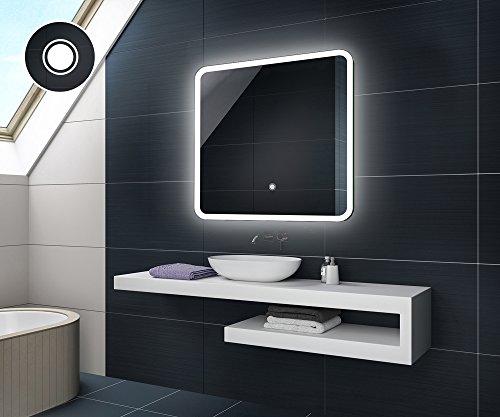 75 x 75 cm Design Badspiegel mit LED Beleuchtung von Artforma   Wandspiegel Badezimmerspiegel   TOUCH SCHALTER