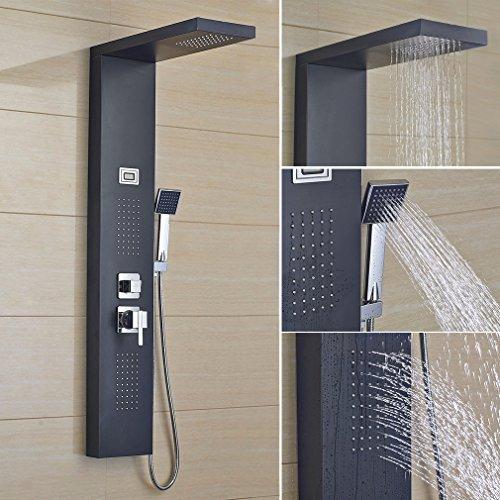Auralum Duschpaneel 4 in 1 Duschsystem Thermostat Duschsäule Regendusche SPA, 2 Jahre Garantie, Schwarz