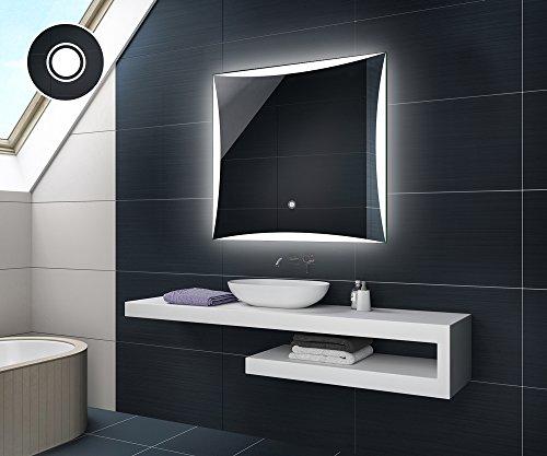 Design Badspiegel mit LED Beleuchtung Badezimmerspiegel von Artforma   Quadratisch Wandspiegel mit Touch Schalter