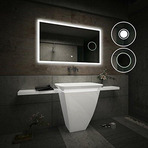 Design Badspiegel mit LED Beleuchtung Wandspiegel Badezimmerspiegel mit Touch Schalter und Vergrößerungsspiegel (Breite 80 cm x Höhe 60 cm)