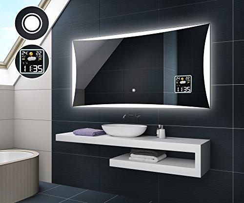 Design Badspiegel mit LED Beleuchtung von Artforma   Wandspiegel Badezimmerspiegel   WETTERSTATION S3 + TOUCH SCHALTER