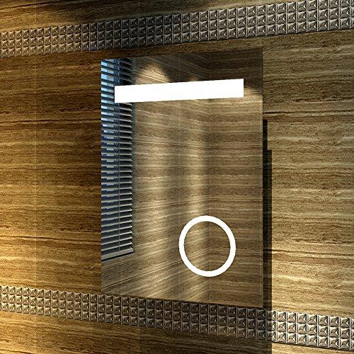 Design LED Badezimmerspiegel Badspiegel Lichtspiegel mit Schminkspiegel mit Beleuchtung IP44 energiesparend 50 x 70cm