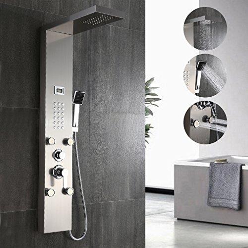 Elegant Edelstahl Duschpaneel-Set mit Massagejets & Wasserfall mit LCD Display Wassertemperatur Anzeigen ink. Handbrause