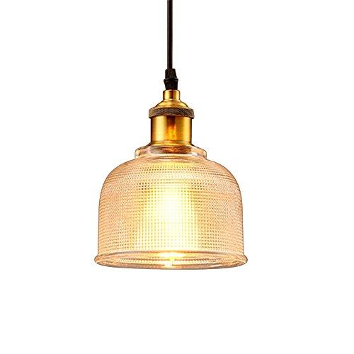 FLTRADE Modern Glas Hängeleuchte Industrielle Vintage LED Pendelleuchte Hängelampe Φ 15cm für Wohnzimmer Esszimmer Restaurant Keller Untergeschoss,Blau,Rot,Klar,Orange (klar)