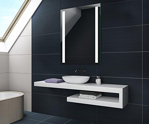 FORAM 50 x 70 cm Batterien Versorgt Design Badspiegel mit LED Beleuchtung von Artforma   Wandspiegel Badezimmerspiegel  Spiegel Nach Maß