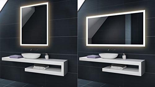 FORAM WARMWEIß 50 x 70 cm Design Badspiegel mit LED Beleuchtung von Artforma   Wandspiegel Badezimmerspiegel  Spiegel Nach Maß