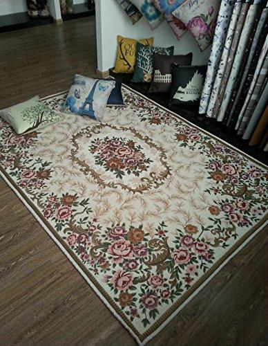 GRENSS Mode Rutschfeste Jacquard Teppich für Wohnzimmer/Esszimmer Schlafzimmer Matte Teppich, Creme, 70cmx120CM