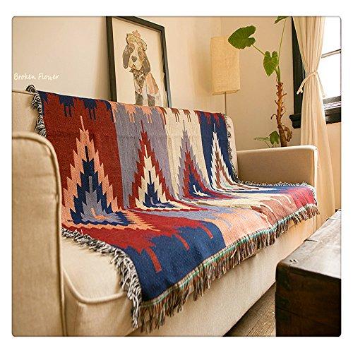 "Geometrische Gobelin Sofa Überwurf Decke Jacquard gewebt Afghanen Navajo Tribal Aztec Kelim Teppiche Home Decor Bohemian Vintage Native American, 50""X60"""