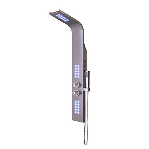 HENGMEI Elegant Edelstahl Duschpaneel Duscharmatur mit Thermostat Massagejets & Wasserfall mit LCD Display Regendusche Duschsäule Badarmatur Brausethermostatset Duschpaneel-Set (Modell 3)