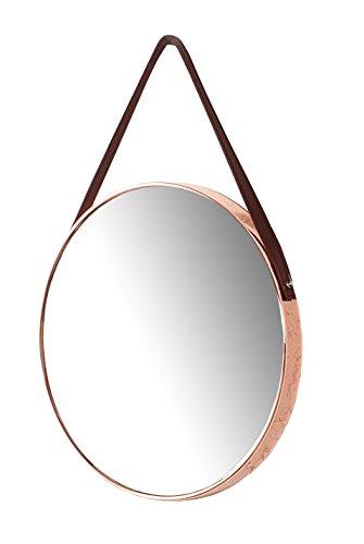 II Wandspiegel Badspiegel Spiegel Theodor Flur Design Metall Rund Kupfer Braun 45 cm (Inklusive Hochwertiger Wohnzeitschrift)