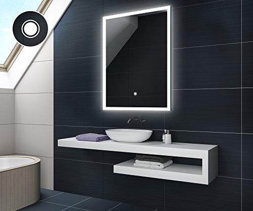 KALTWEIß 60 x 80 cm Design Badspiegel mit LED Beleuchtung und TOUCH SCHALTER von Artforma   Wandspiegel Badezimmerspiegel  Spiegel nach Maß