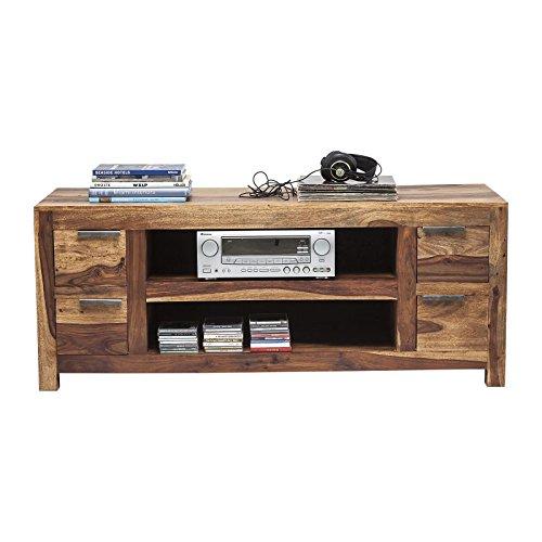 Kare Authentico TV Lowboard, 74502, moderner, großer Fernsehschrank mit 4Schüben, massives Sheeshamholz, braun (H/B/T) 60x150x55cm