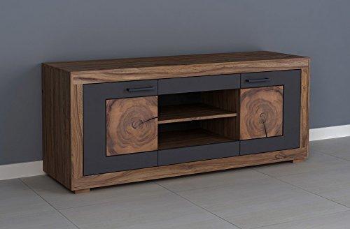 MASSIVMOEBEL24.DE TV-Board Sheesham/Akazie 150x46x62 gebeizt Turin #02 Braun Modern
